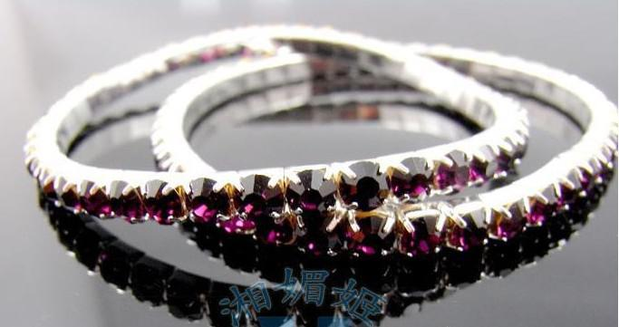 New Korean Designs Hot Fashion Women Silver Plated Bangles One Row Shining Crystal Stretch Bracelets Mix Colors