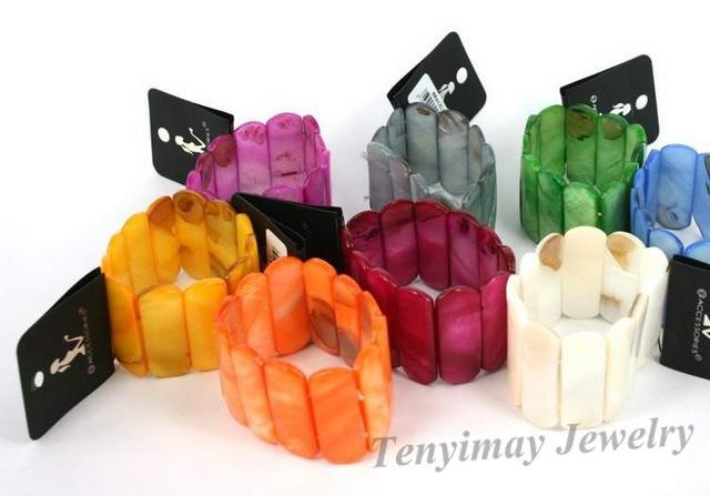 Bohemian shell bangles multicolor natural shell bangles wide stretch bangles