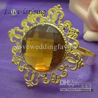 Gratis DHL frakt-ny ankomst-100pcs crimson röd pärla guldpläterad servett ringar bröllop brud dusch