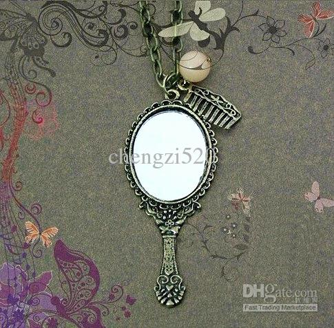 Kvinnors halsband elliptisk spegelkam hängande halsband tröja kedja