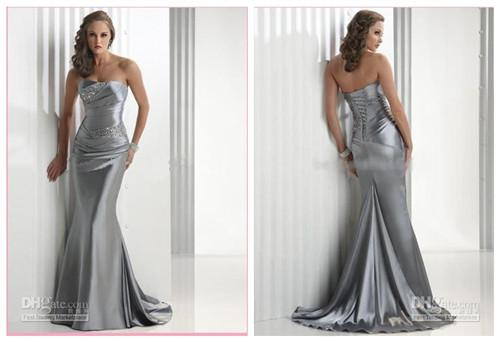 Cheap Wedding Dresses Plus Size Under 100 Dollars: Sexy Silver Custom Made Mermaid Trumpet Lace Up Beaded