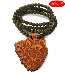 Wood Hip Hop Beads Canada - 30% off!Brown Hip Hop HIPA wood wolf pendant Piece Rosary beads Good wood necklace 1pair