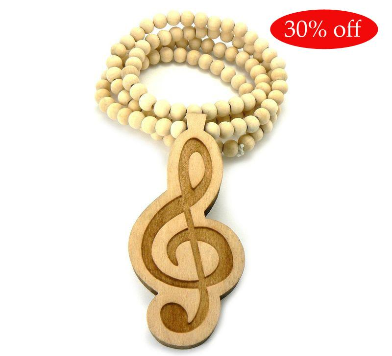 30% rabatt! Trä diskant Clef hänge + 36 tum halsband kedja trä pärlstav god kvalitet