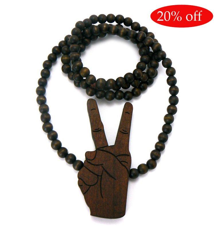 20% de descuento! Pieza de madera Good wood NYC Hip Hop Good Collar de cuentas de madera Negro Marrón