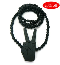 Wholesale Brown Beaded Necklaces - 20% off!WOODEN PEACE SIGN PENDANT + 36 INCH WOOD BEADED NECKLACE GOOD CHAIN BLACK BROWN