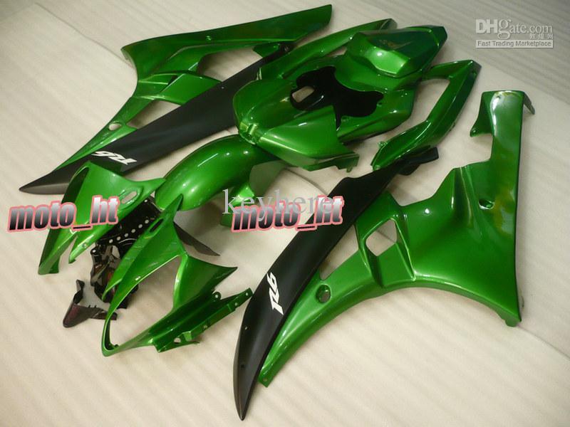 Gratis schip Alle groene ABS-bakken voor YZF-R6 2006 2007 YZF R6 06 07 YZF600 YZFR6 06-07 Fairing Kit