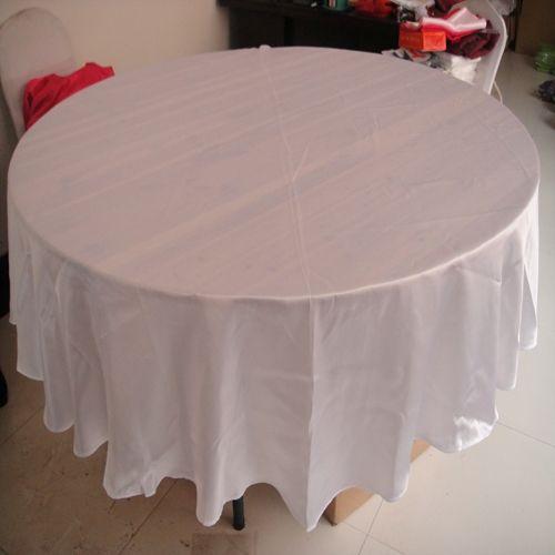 10ピースMOQ送料無料 -  White Color Satin Fabric Lound TableClothウェディングバンケットパーティーのホテルの使用