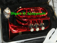 Wholesale NEW red POCKET TRUMPET available Very excellent pocket trumpet with a case
