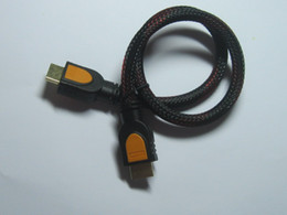 Wholesale Hi Speed Hdmi - 1 pcs Red Black Mesh Hi-Speed Gold Plated Male to Male HDMI 19pin Cable 50cm