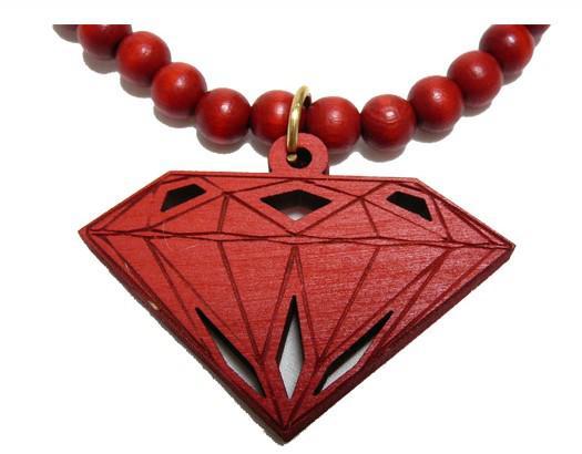 Neu kommen Sie an! 20% weg! Hip Hop Goodwood nyc guter hölzerner Diamant Stückrosenkranzhalskette 1pair schwarzes Rot