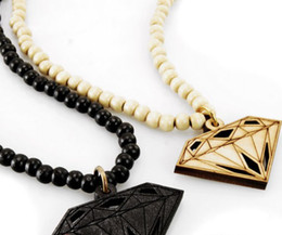 Wholesale Rosary Necklace Wood - 20% off!Hip Hop Goodwood nyc good wood diamond Piece rosary necklace 1pair black red