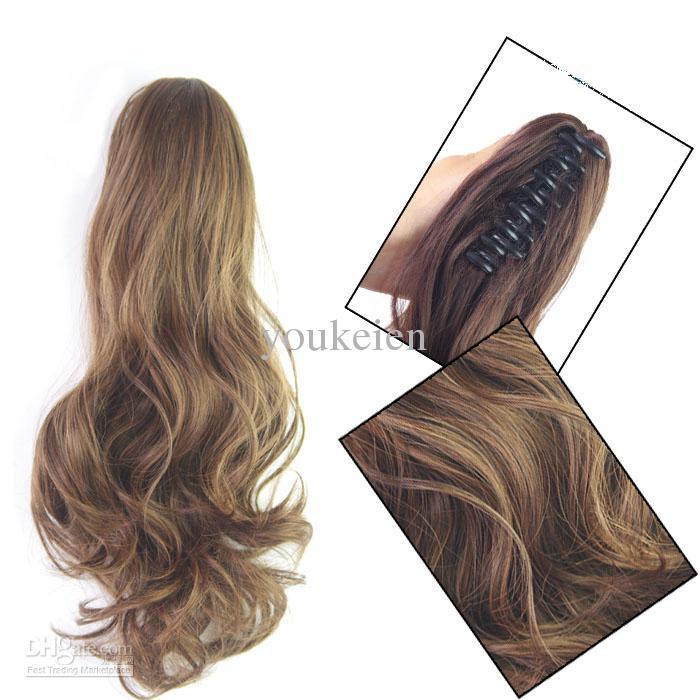 / curl hår 35cm / 45cm klipp i hästsvans kort hårförlängning syntetiska hårbitar