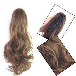 1pc lot Curl hair 35cm 45cm clip in ponytail short hair extension synthetic hair pieces