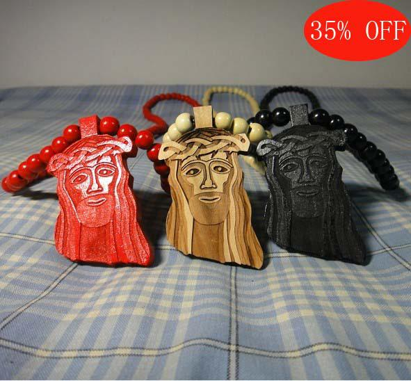 35 Offwooden Piece Good Wood Jesus Piece Good Wood Beads Necklace Black Red Natural Free Shipping