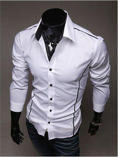 2018 Men Long Sleeve Shirt Men Designer Shirt Mens White