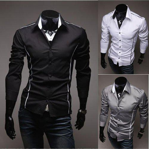 2017 Men Black Shirt Men Stylish Shirt Fashion Casual Designer ...