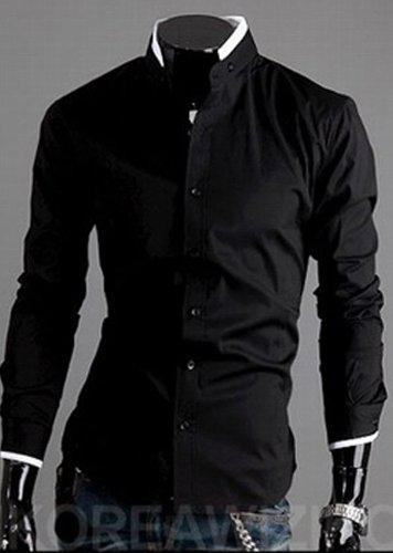 2017 Men Black Shirt Men's Handsome Shirt High Collar Mens Shirts ...