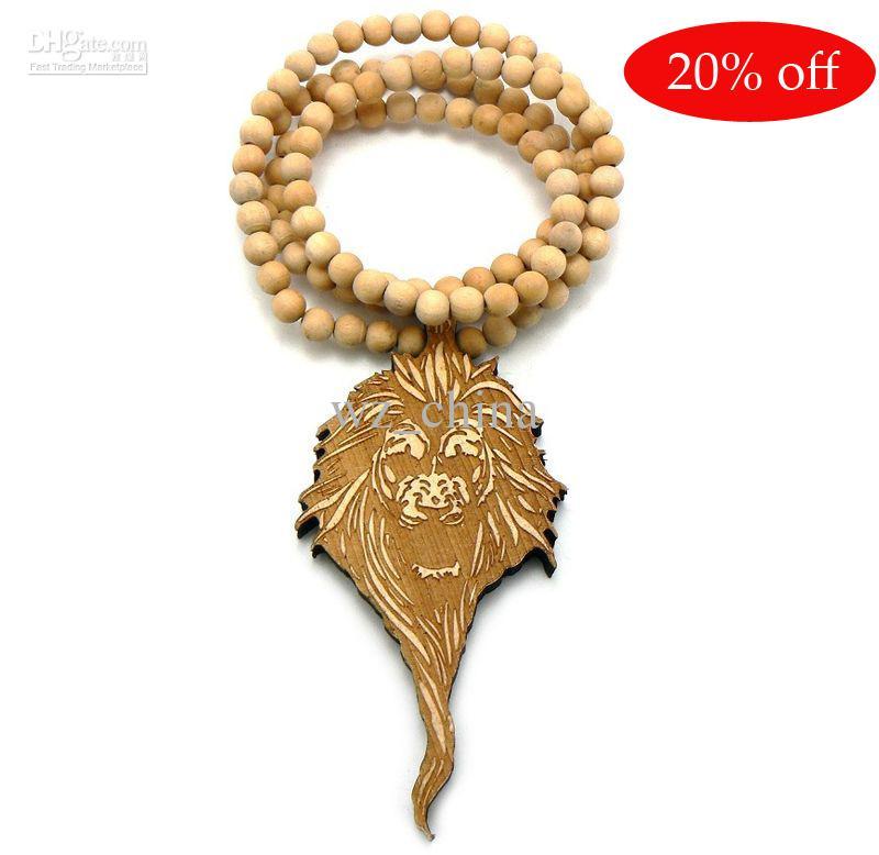 Hotsale! Hip Hop! Goodwood NYC Łańcuch Biżuteria Dobry Drewno Koraliki Rosary Naszyjnik
