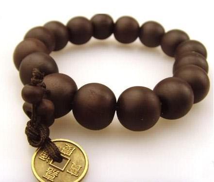 Buenas pulseras de madera Sándalo con monedas antiguas rosario de rezo pulseras religiosas 50 unids / lote