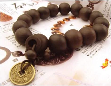古い硬貨と古い木のブレスレットのサンダルウッドロザリオの祈りのビーズ宗教的なブレスレット/ロット