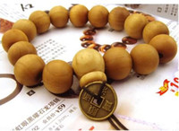 ingrosso legno buddista-Hot Goodwood nyc buon legno braccialetto rosario perline bracciali Sandalo con monete buddista perline di preghiera Bracciale