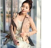 Wholesale Korea Jacket Faux - chic korea pink color women short motorcycle jackets with zipper2 colors size M L