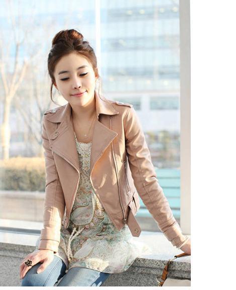 Chic Korea Różowy kolor Kobiety Krótkie Kurtki motocyklowe Z Zipper2 Kolory Rozmiar M / L