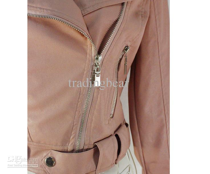 chic korea pink color women short motorcycle jackets with zippersize M/L