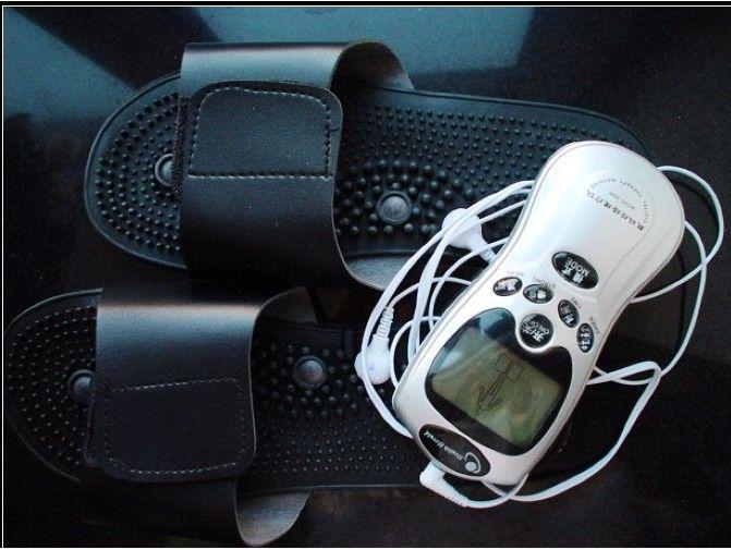 Magisk terapi slipper / skor med tiotals akupunkturerapi maskin + elektroder kuddar, fotmassage