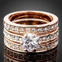 Wholesale Swarovski Rings Rose Gold - 925 silver rose gold rings 3set flower crystal diamond drill ring Rings 18 K gold-plating ring Swarovski
