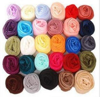 Wholesale Scarf Mixed Candy Color - 100pcs lot Wholesale Mixed color candy scarves elegant gauze fabric long scarf woman's wraps Winter accessories