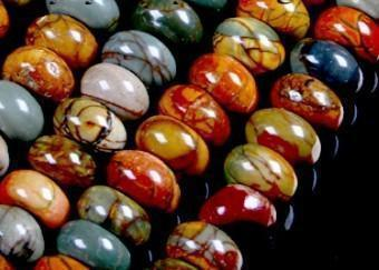DIY semi-finished products 5x8mm Multicolor Picasso Jasper Gems Abacus Loose Bead 15 inches