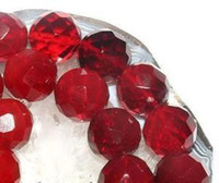 Wholesale Faceted Gemstones - DIY semi-finished products 6mm Faceted Red Ruby Gems Loose Beads Gemstone 15 inches