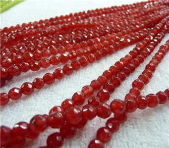 DIY semi-finished products 4mm Faceted Red Ruby Round Loose Bead 15 inches