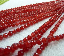 Wholesale Finish Letter - DIY semi-finished products 4mm Faceted Red Ruby Round Loose Bead 15 inches