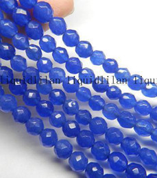 Wholesale 6mm Faceted - DIY semi-finished products 6mm Blue Sapphire Faceted Round Loose Bead 15 inches