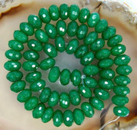 Wholesale Emerald Abacus - DIY semi-finished products 5x8mm Green Emerald Gem Faceted Abacus Loose Bead 15 inches