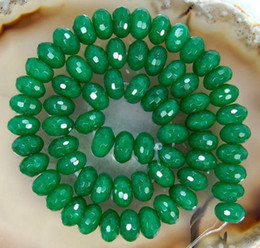 Wholesale Green Loose Beads - DIY semi-finished products 5x8mm Green Emerald Gem Faceted Abacus Loose Bead 15 inches