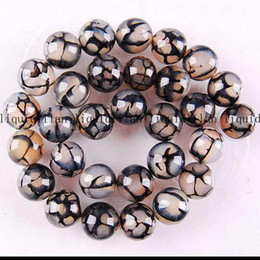 Wholesale Vein Agate Beads - DIY semi-finished products 8mm Black Dragon Veins Agate Round Loose Bead 15 inches