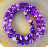 Wholesale Strings Gemstone Beads - semi-finished products 8mm Purple Agate Onyx Gemstone Round Loose Bead string 15 inches