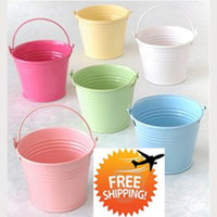 Wholesale Hot Pink Pails - Free shipment, Hot Sale! 100PCS Mix Color mini pails wedding favors, mini bucket, candy boxes favors