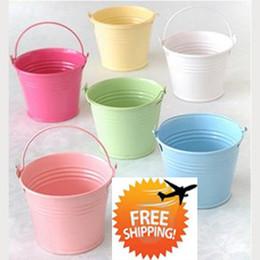Wholesale Metal Favor Pail Candy - Free shipment, Hot Sale! 100PCS Mix Color mini pails wedding favors, mini bucket, candy boxes favors
