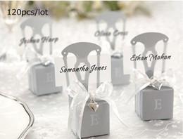 Cuori in miniatura online-Scatole per il matrimonio di Bomboniera in miniatura argento 120 pezzi / lotto con biglietto da visita e ciondolo cuore