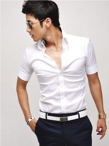 2017 Mens Slim Fit Stylish Dress Short Sleeve Shirts Men Fashion ...
