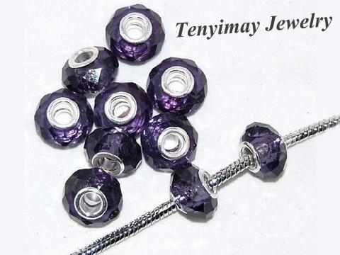 紫色のファセットガラスルーズビーズ卸売100ピースの大きな穴のチャームビーズDIY送料無料