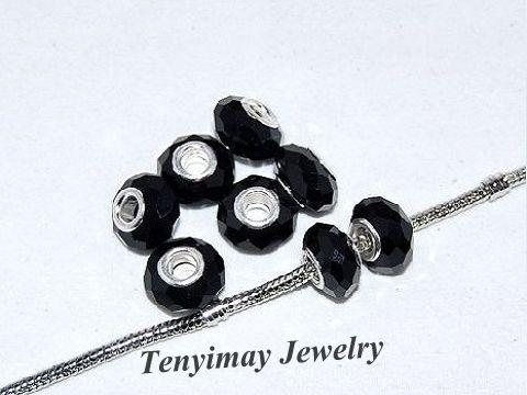 Black Faceted Big Hole Groil Beads al por mayor para la pulsera de encanto europeo DIY envío gratis