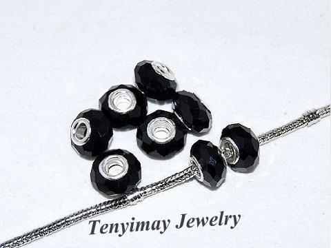 검은 색면 처리 된 큰 구멍 유리 구슬 유럽의 매력 팔찌 DIY에 대한 도매 무료 배송