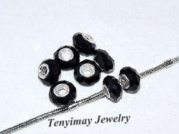 Perle di vetro foro sfaccettato nero all'ingrosso 100pcs per il braccialetto europeo di fascino DIY libera il trasporto da