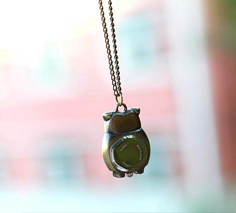 Sacred Owl Necklace Pocket Watch Pocket Klockor Halsband Kvinnors Tillbehör