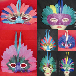 Wholesale Red Mask Face Feathers Women - Random delivery New Half Face Halloween Party Mask Carnival Mask large feather mask